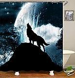 chenyuuu Dream Wolf Looking Up Moon Sternenhimmel Duschvorhang, Wasserdicht, Schnell Trocknend, Lichtecht, Leicht Zu Reinigen, 12 Haken. 180X180Cm