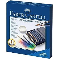 Faber-Castell 114238 - Estuche con 38 ecolápices acuarelables triangulares con agarre Grip, multicolor