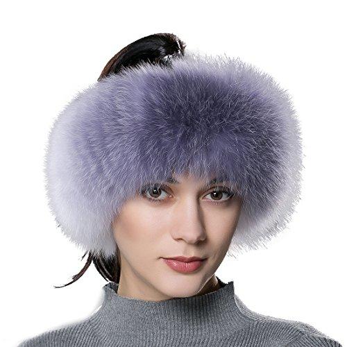 Ursfur elegante fascia vera pelliccia cossak stile russo invernale earwarmer earmuff berretto da sci per donna rainbow taglia unica