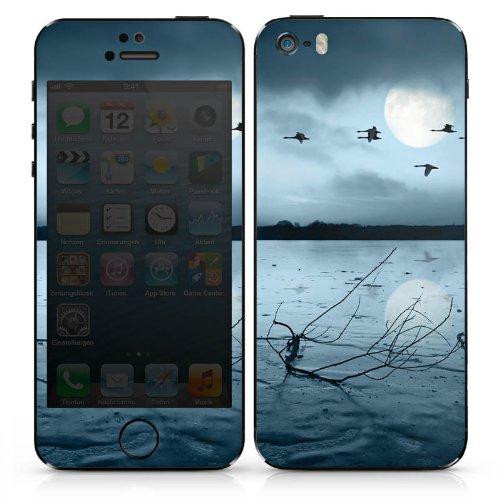 Apple iPhone 5 Case Skin Sticker aus Vinyl-Folie Aufkleber Vögel Mond See DesignSkins® glänzend