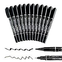 Caxmtu 12 Pieces Black Permanent Marker Pen Office Oily Mark Pen Double Tip Fine