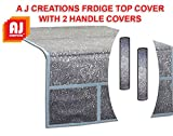 #4: Aj Creations Silver Decorative Fridge Top Cover And 2 Fridge Handle Covers