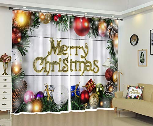 S-vision Vorhänge 3D 2 Panel Eyelet Ring Top Anti-UV Thermal Blackout Print Weihnachtspersönlichkeitsvorhänge, Einschließlich Haken Und Römische Ringe - Weihnachtskugeln,D-W203cmH241cm -