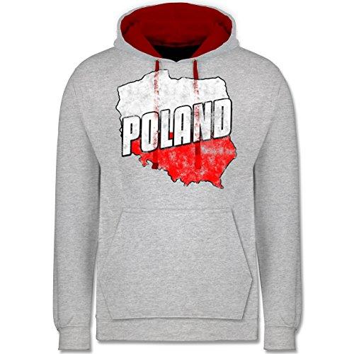 FußballWM 2018 Russland Poland Umriss Vintage Kontrast Hoodie Grau ...