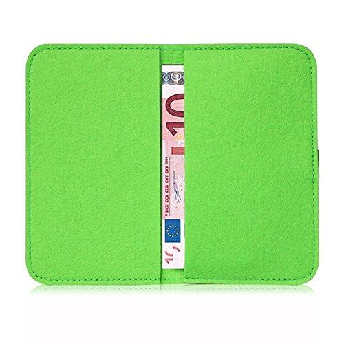 Filz Tasche für Smartphone Cover Hülle Case Schutzhülle Handy Flip Filztasche, Farben:Türkis, Handy Modelle für:Apple iPhone 6S Plus Grün