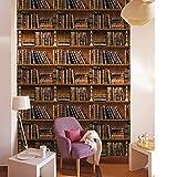 Huaduo Retro Alte Buch Bücherregal Abnehmbare Wandaufkleber Tv Hintergrund Aufkleber Wandaufkleber Für Kinderzimmer Wohnkultur 3D Tapete 45X100 cm