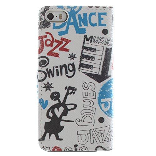 CaseLike Colored disegno Premium PU Pelle Flip Custodia Protettiva Case Cover Per Apple iPhone 55S Wallet con Card Slots & Cash Scomparto, Supporto dual Shell iphone55s#1 iphone55s#43