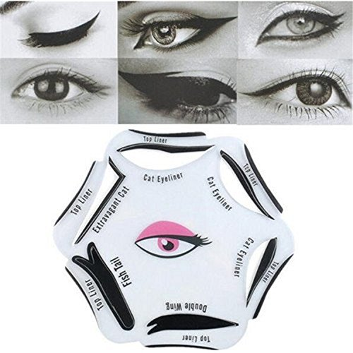 Gugzy® Siempre21 6 Styles of Eyeliner Stencil Models for the perfect Eyeline, Cat Eyeliner, Double Wing, Extravagant Cat, Arabic Eyeliner