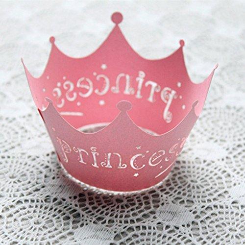 Pearly Papier Vine Spitze Cup Cake Wrappers Dekoration, Princess Crown Pink, 50pcs (Halloween Princess Bride)