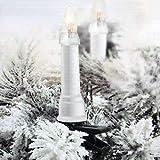 Multistore 2002 Lichterkette für den Weihnachtsbaum - 16er Kerzenlichterkette mit Befestigungsclips, 6m lang, warmweißes Licht für Innen und Außen - Weihnachtsdekoration