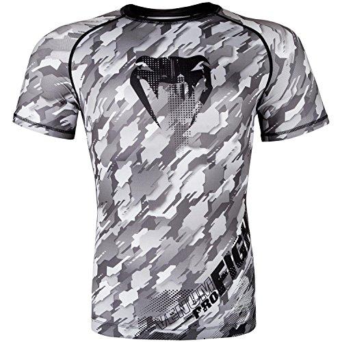 Venum Herren Tecmo Kurze Ärmel Rashguard, Schwarz/Grau, XL (Shirt Sleeve Rash)