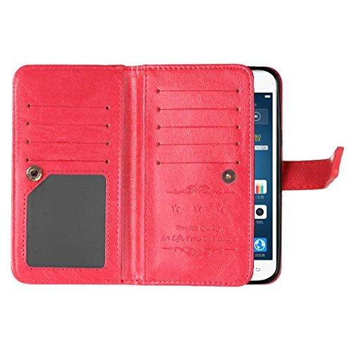 Samsung Galaxy J5 2016 J510 Fall Flip Folio Case Solid Farbe Premium Synthetik-Leder-Kasten-Standplatz-Mappen-Kasten-Kasten mit 9 Karten-Bargeld-Slots für Samsung Galaxy J5 2016 J510 ( Color : Brown , Red