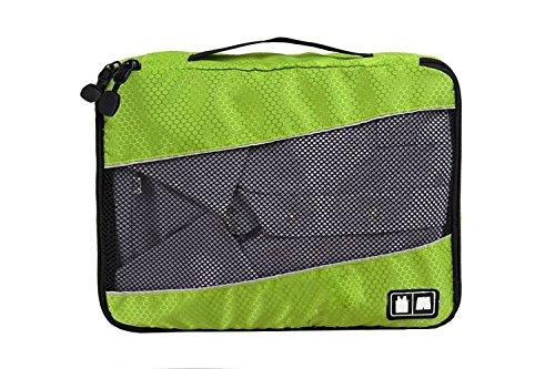 MOONPOP 3x Packwürfel Set Kofferorganizer Packtaschen Koffer Wäschtaschen Kleidertaschen Luggagebags Haushaltsware Reise Pack - Schwarz (Blau) Grün