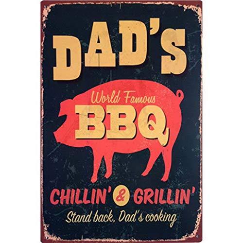 Tin Signs Dad's BBQ Metal Western Poster Wall Art Garage Hot Shop Bar Retro Iron Plaque 20X30Cm ()