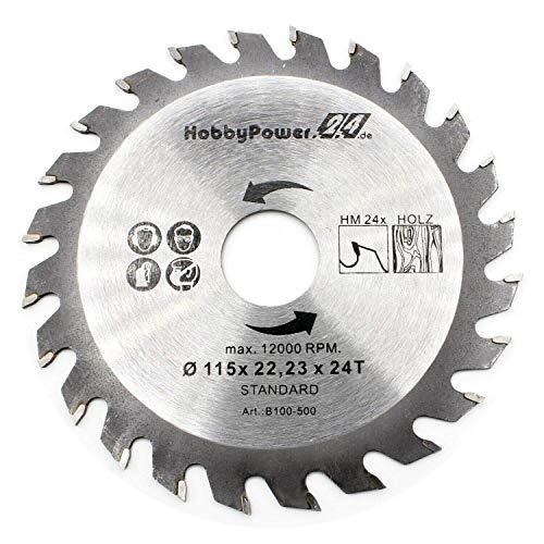 HM Sägeblatt für Winkelschleifer Flex Ø 115mm x 22,23mm 24T Zähne für Holz Plastik Trennscheibe