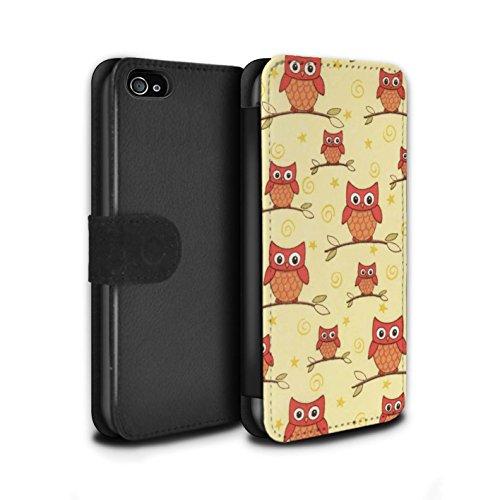 Stuff4 Coque/Etui/Housse Cuir PU Case/Cover pour Apple iPhone 4/4S / Pack (11 pcs) Design / Motif Hibou Collection Rouge/Jaune