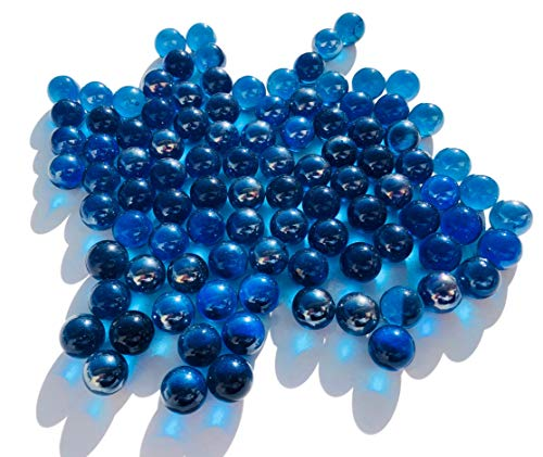 CRYSTAL KING - Bolas de Cristal de Color Azul Oscuro, 16 mm de diámetro, 500 g, Bolas Decorativas Transparentes Azules y claras, decoración de canicas Azules