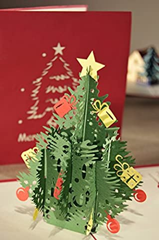 Geburtstagskarte, Pop Up 3d a Form Weihnachtsbaum cm 29x 15mit Umschlag Außen