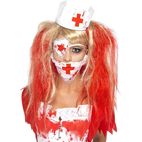 Zombie Krankenschwester Set Mundschutz Haube rot weiß Horror Augenklappe Halloween Nurse Horror Halloween Blut Kostüm (Zombie Zubehör)