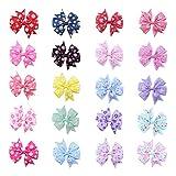 Frcolor Haarschleife für Mädchen Baby Haar Spange Schleife Blume mehrfarbig 20pcs