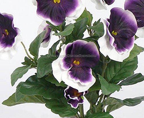 Künstlicher Stiefmütterchen Busch mit 7 weiß lila farbigen Blüten, 33cm – Kunstpflanze Kunstbaum künstliche Bäume Kunstbäume Gummibaum Kunstoffpflanzen Dekopflanzen