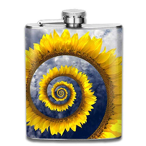 deyhfef Helix Circle Sunflower Fashion Portable 304 Stainless Steel Leak-Proof Alcohol Whiskey Liquor Wine 7OZ Pot Hip Flask Travel Camping Flagon