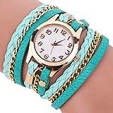 Dosige Pulsera del Relojes Retro Estilo Romano Cuarzo Reloj de Pulsera Mujeres Accesorios de Moda(Verde Claro)