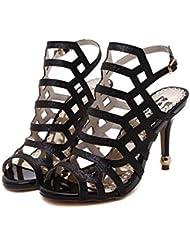 Bomba 10cm Estilete Scarpin Slingback Zapatos de boda Zapatos De Vestir Mujer Encantador Peep Toe Hueco Correa de tobillo romano Zapatos de la Corte Zapatos de fiesta Tamaño de la UE 34-40 , black , 39