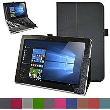 """Lenovo MIIX 310 Funda,Mama Mouth Slim PU Cuero Con Soporte Funda Caso Case para 10.1"""" Lenovo MIIX 310 Windows 10 Detachable 2-in-1 Laptop/Tablet,Negro"""