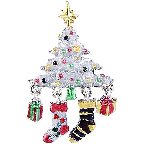 Ever Faith Albero di Natale Calze d'argento regalo-Tone Spilla cristallo N04541-1 austriaca - Bambino Epoca Spilla Gioiello