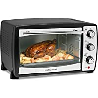 Andrew James Mini Oven Electric Cooker and Grill - 20L Fast Heating Toaster Ovens at 230°C with Timer Rack & Baking Tray - Small Enough for Table Top Use - 1500W (Black)