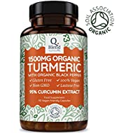 Organic Turmeric with 95% Curcumin 1500mg | CONTAINS 95% CURCUMIN | NON-GMO & NO EXCIPIENTS Like Magnesium Stearate + Silicon Dioxide | 500mg Per Capsule & 1500mg Per Serving (3 Capsules Per Day) | Soil Association Certified Organic & Made in the U.K