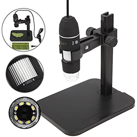 JZHY 20x-800x Microscopio ingrandimento del microscopio del USB 8 LED
