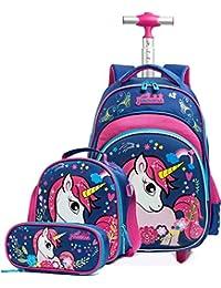 Mochila Unicornio Escolares con Ruedas niña,Estudiantes de Primaria Carros para Mochilas Bolsa de Almuerzo Estuche Escolar Equipaje de Viaje Multifuncional