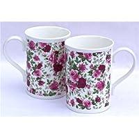 Pair Fine English Bone China Mugs - Summertime Pink Rose