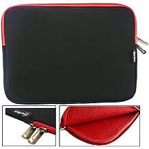 Emartbuy® Negro / Rojo Funda Case Cover Sleeve Impermeable con Cremallera de Neopreno SuaveWith Rojo Interior & Cremallera apto para Teclast X16 Power 11.6 Pulgada Tablet ( 11.6 - 12.5 Pulgada Tablet Chromebook Laptop )