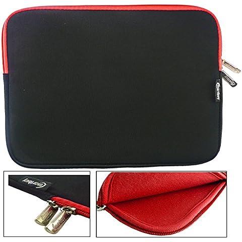 Emartbuy® Nero / Rosso Impermeabile Morbido Neoprene Con Chiusura a Zip Case Cover Con Rosso Interno & Cerniera Lampo Adatta Per Asus X550 15.6 Pollice (15-16 Pollice Laptop / Notebook)