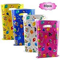 Howaf 60 Piezas Bolsas Regalo Cumpleaños, bolsas para chuches, Bolsas Plástico para Frutos Secos, Caramelos, Chocolate, piñata, idea de regalo fiestas infantiles cumpleaños de niños
