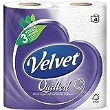 Velvet matelassé blanc hygiénique - 165 feuilles par rouleau (4) - Paquet de 2