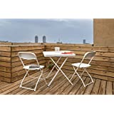 ThinkPro Polyethylene and Steel Folding Furniture Set with 1 Table and 2 Chairs (White)