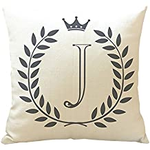 Moda Inglés letras impresión sofá almohada cojín funda de almohada de decoración para el hogar, J, talla única