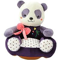 VERCART Canapé Enfant Fauteuil pour Garçon Fille Chaise rembourrée Coussin de Sol Pouf Bébé 45CM en Coton Siège Enfant Doux Confortable Animal Décoration pour la Chambre d'enfant Panda Violet