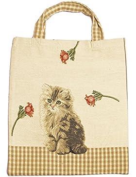 Einkaufstasche Beutel Stofftasche Shopper Bag Tasche Bistro Gobelin Royaltex Signare Eine Katze Fa. Bowatex