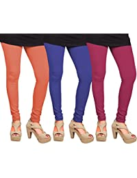CAY 100% Cotton Combo of Dark Pink, Orange and Blue Color Plain, Stylish & Most Comfortable Leggings For Girls & Women with Full Length (SIZE : Free Size)