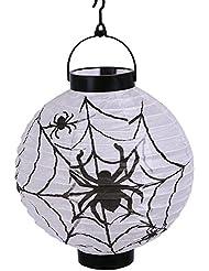 TININNA Decoración de Halloween linterna,Las linternas de papel de la lámpara de la calabaza de la linterna de la fiesta para el jardín de casa con Araña Patrón
