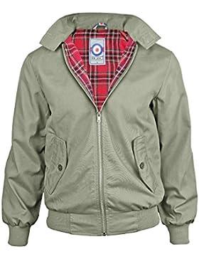 Hombres Gensen Clásico Retro Harrington Jacket Mod Nuevo Escudo - Gris Claro - 5XL