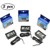COCOCITY 3Pcs Termometro Digitale LCD per Acquari, Termometro Digitale Nero con Sonda Impermeabile per Acquario, Terrario e Vivarium