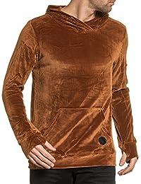 Project X - Sweat homme marron en velour à capuche