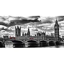 Artland Póster De Impresión o Lienzo–Cuadro de Imagen listo Madera Contrachapada en bastidor Melanie Viola Londres Westminster Bridge Red Buses Ciudades Reino Unido London fotografía blanco y negro, lienzo o póster, negro/blanco, 30x60 cm / Poster