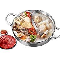 LEILEI Stainless Steel The Shabu Shabu Hot Pot with Lid,Yuanyang Hot Pot with Divider,Lightweight Chinese Aluminum Hot Pot Induction Cooktop Gas Stove Safe Party Use Silver Diameter36cm(14inch)